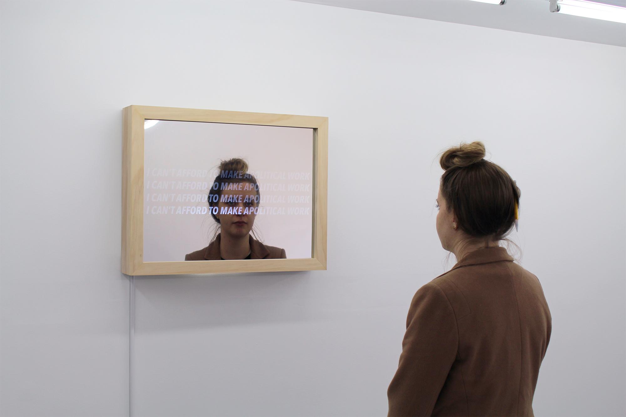 Wood, acrylic sheet, two-way mirror film, strobe light