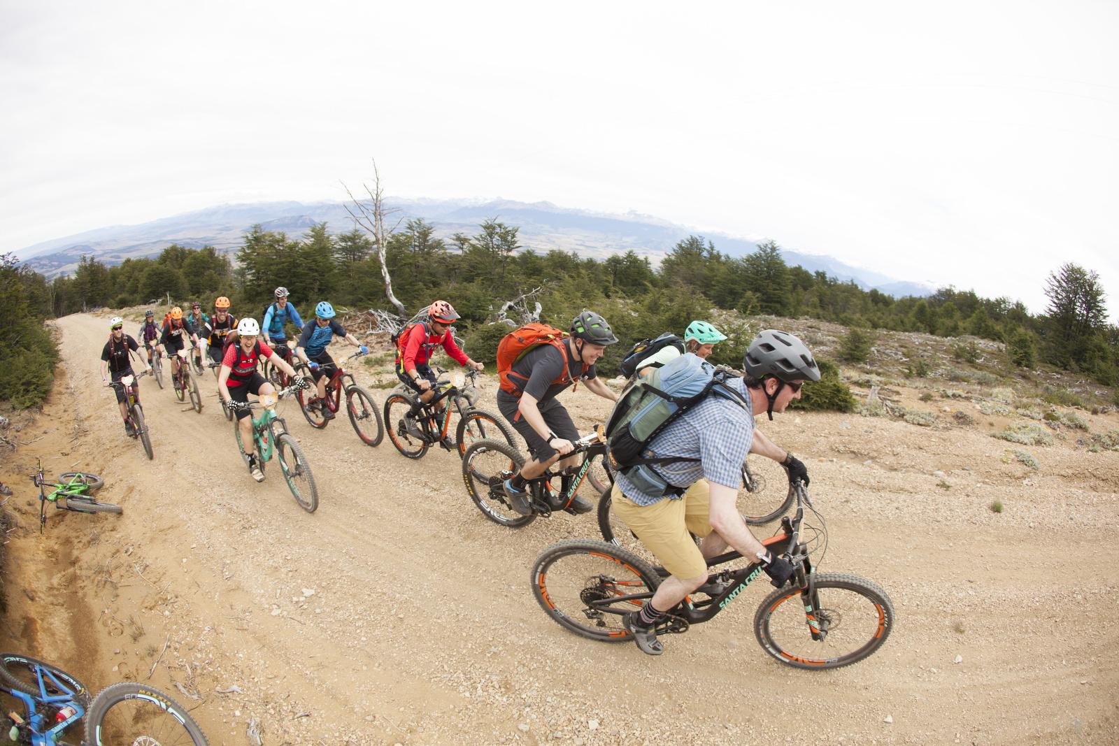 A bunch of journos and Santa Cruz staffers racing to the top of the mountain. Santa Cruz Rally de Aysen, Patagonia.  photo : therodfather