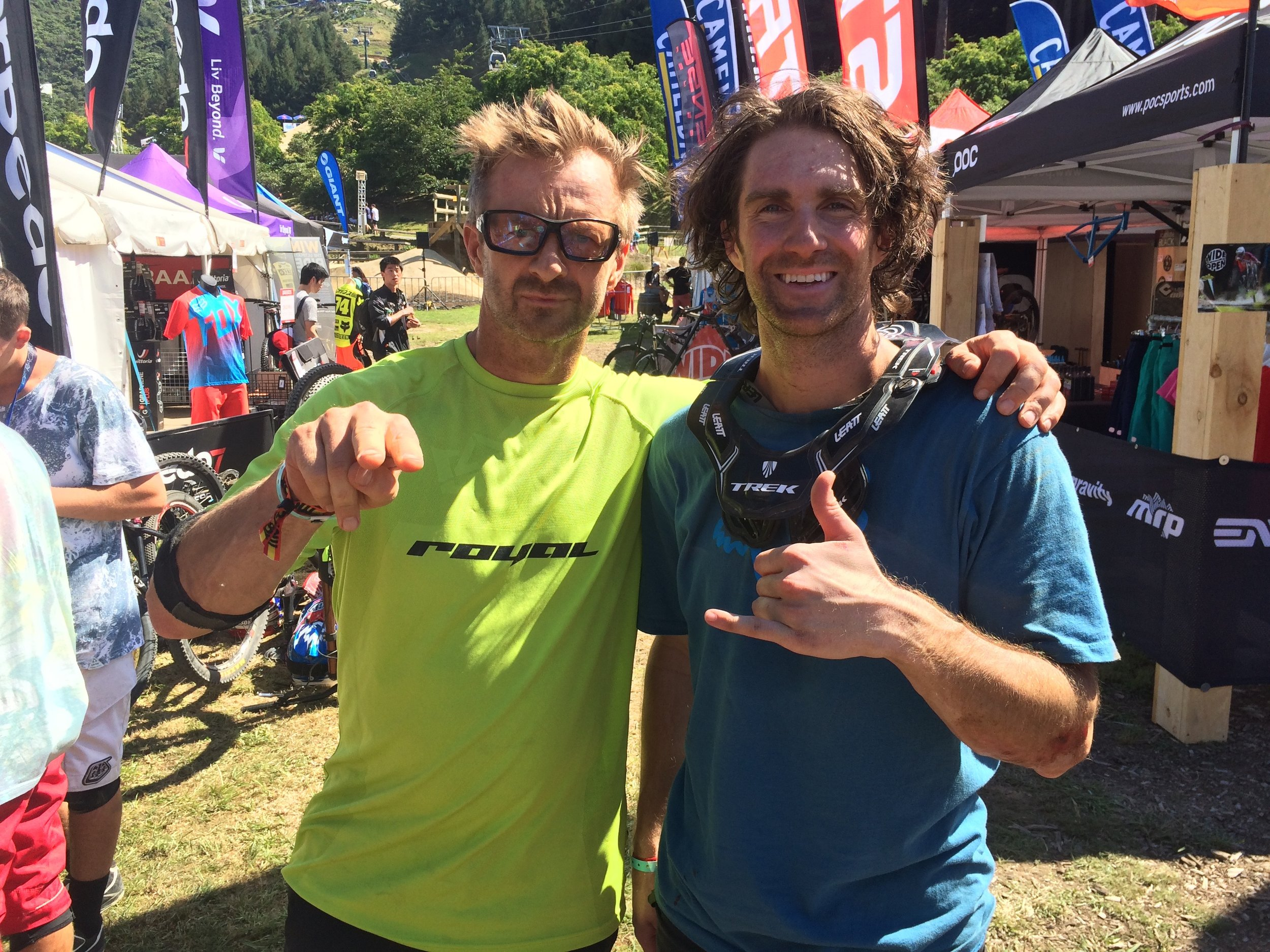 Talk about hanging with the pros...Cam McCaul got to meet his hero therodfather at Crankworx. If you've got hair...use it.