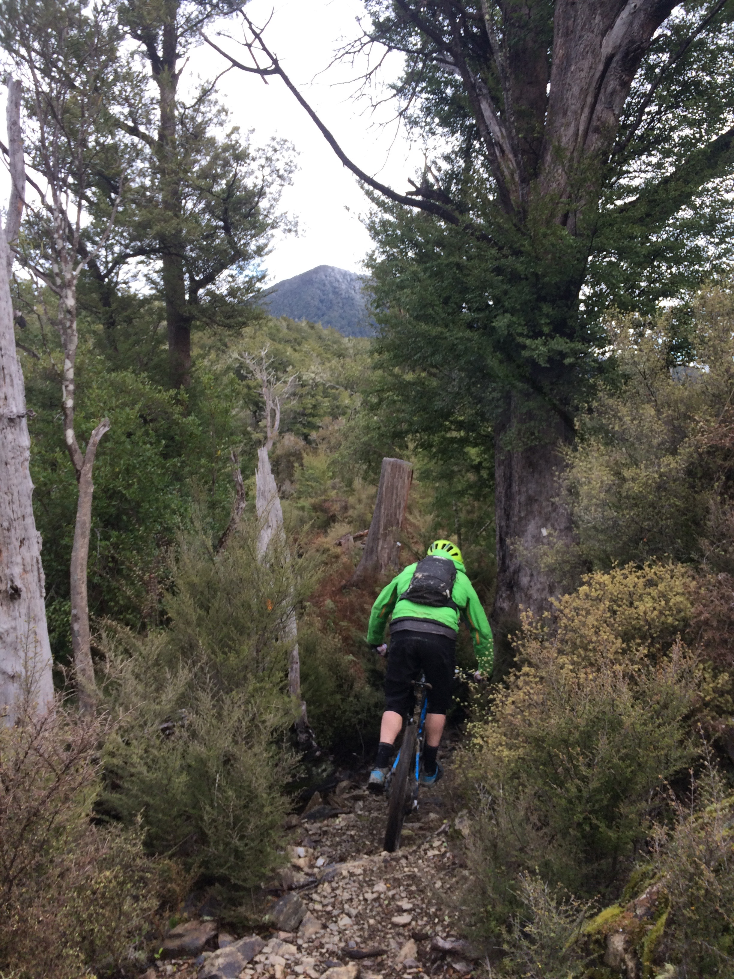 Jeff Carter heading along the saddle for a ripping descent down Krankenstein