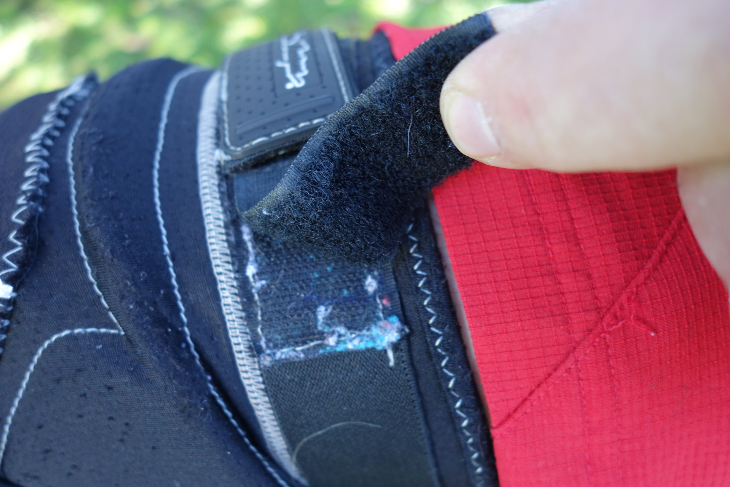 Stupid arse about face bloody velcro hooks. They kept catching on my shorts and making me look even more of a twat than normal. I just stuck this bit of extra loop bit on. How do designers/quality control get things so wrong?