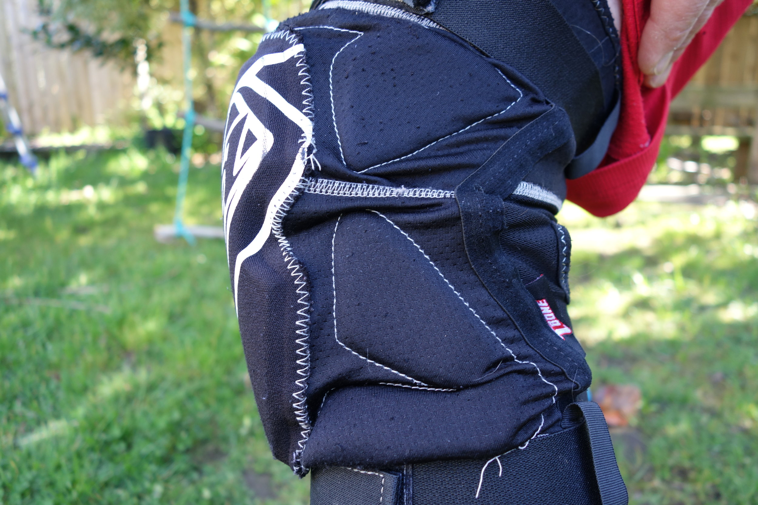 There is a bit of neoprene at the back panel, but the rest is a good breathable wicking material that is double layered so they have lasted very well so far. The stitching has popped in a few places but they have had a lot of use and it hasn't needed repair.
