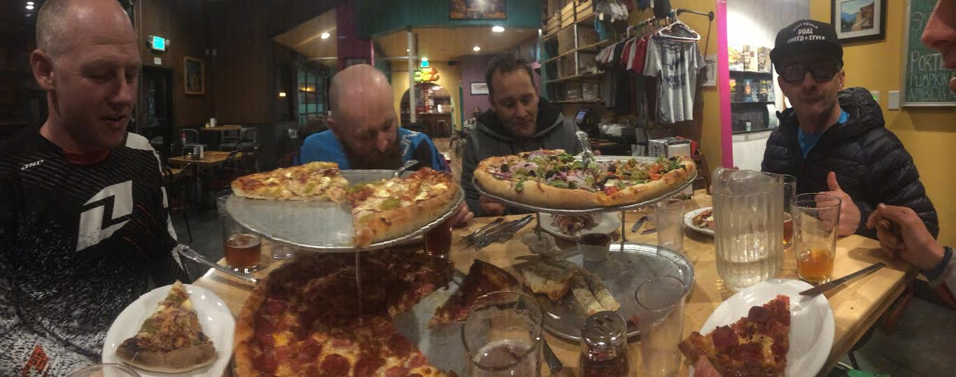 When in Rome....Straight off the mountain and into the pizzeria.