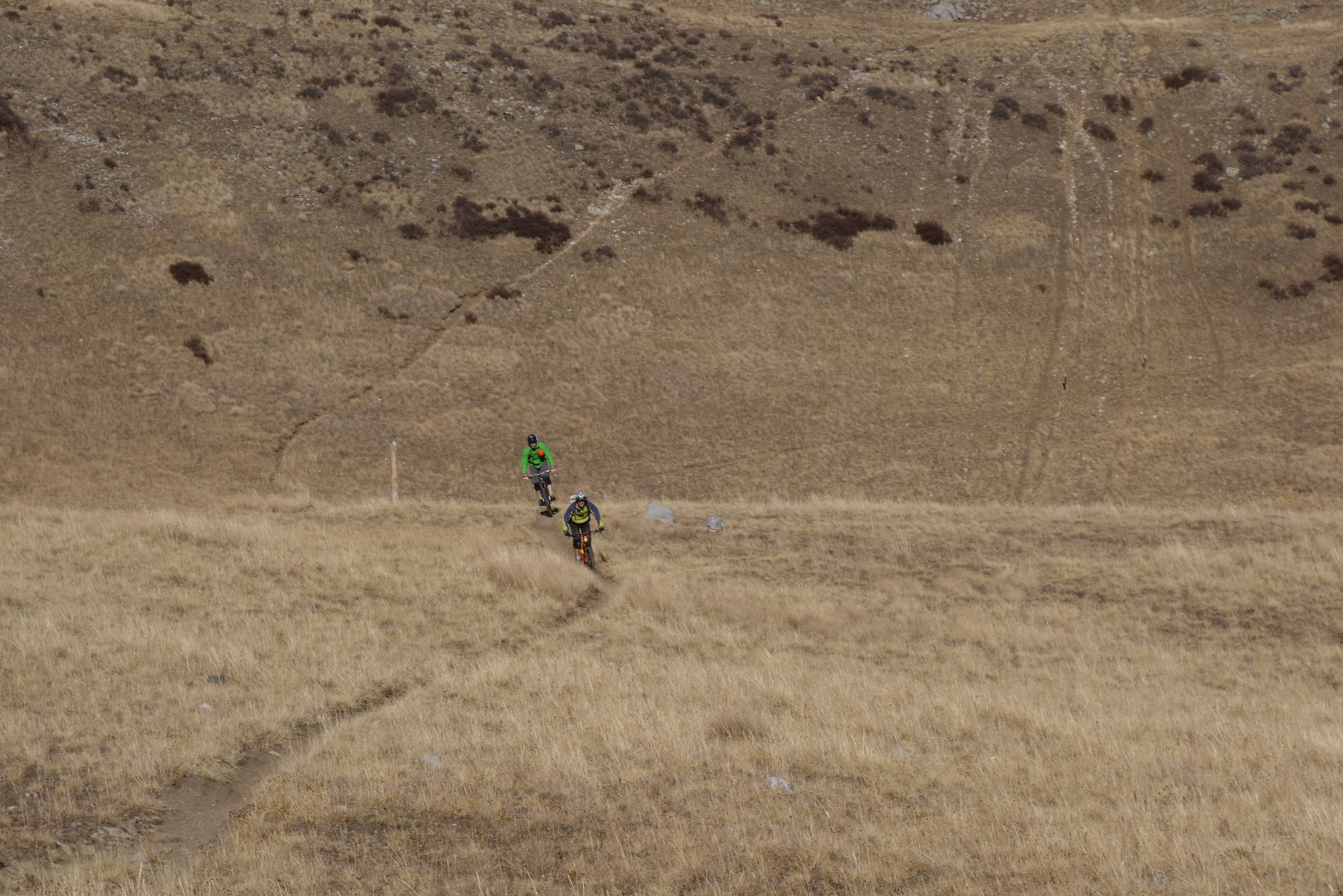 High speed, narrow trail action from James and Stefan.