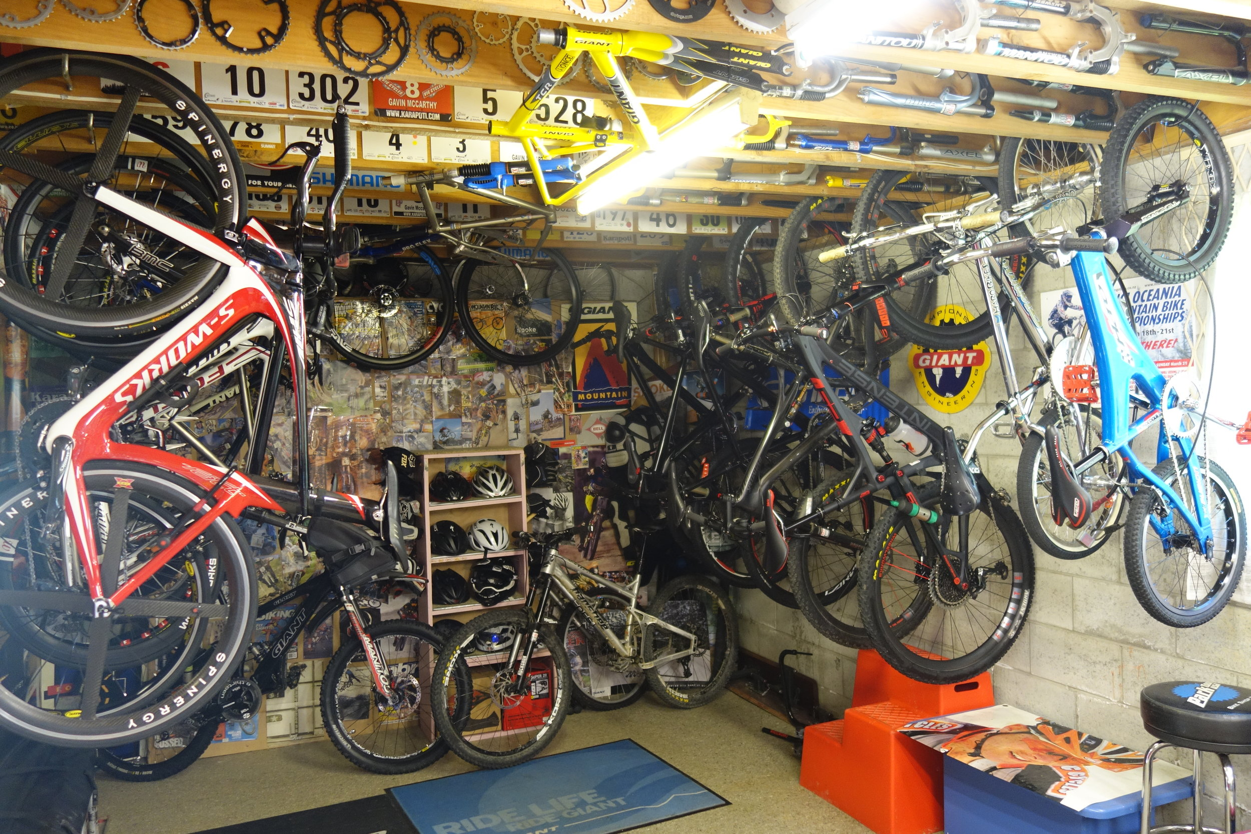 Gavs personal bikes. Show this pic to your nagging wife/husband. Tell them to thank their lucky stars.