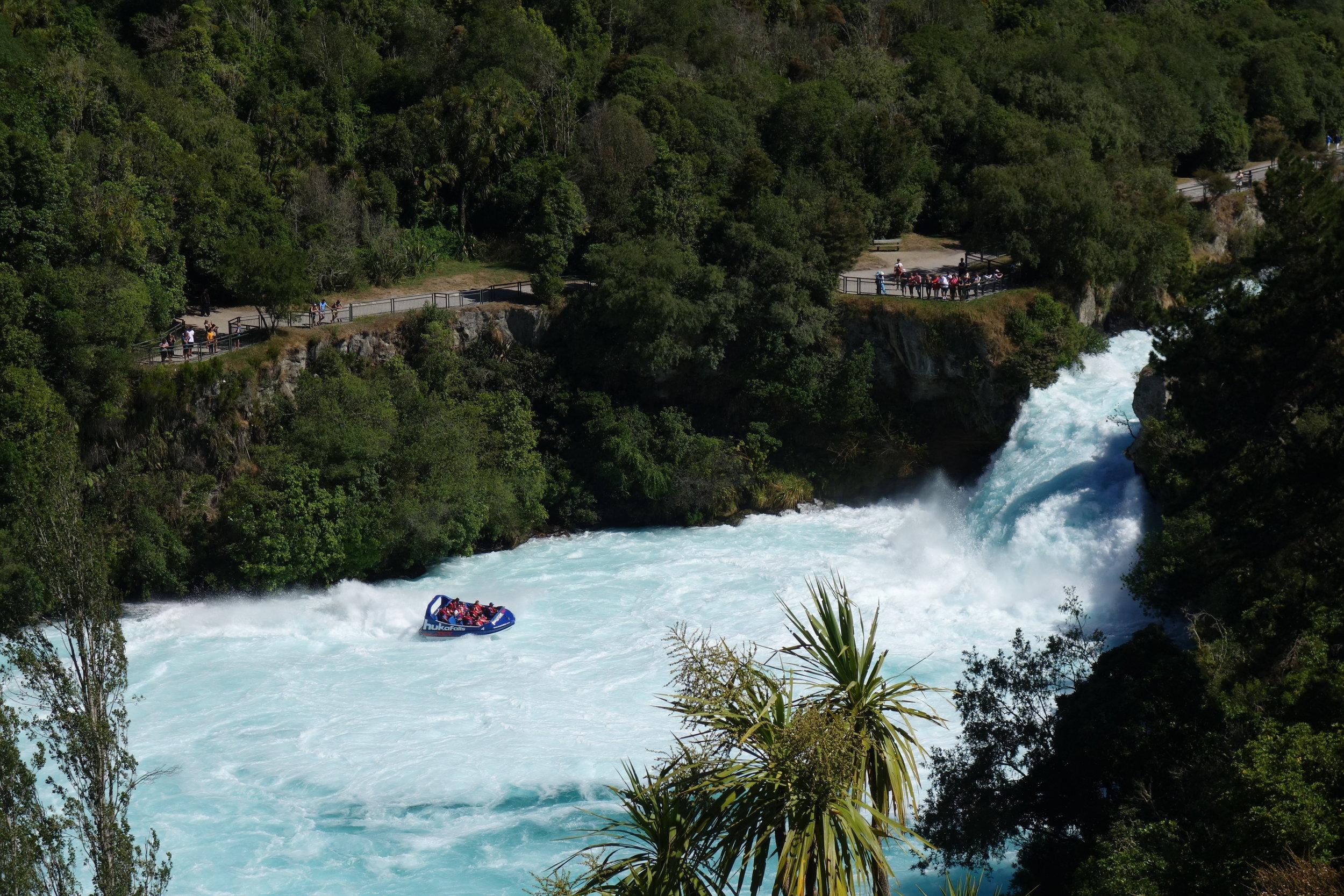 Huka Falls jet boat action.