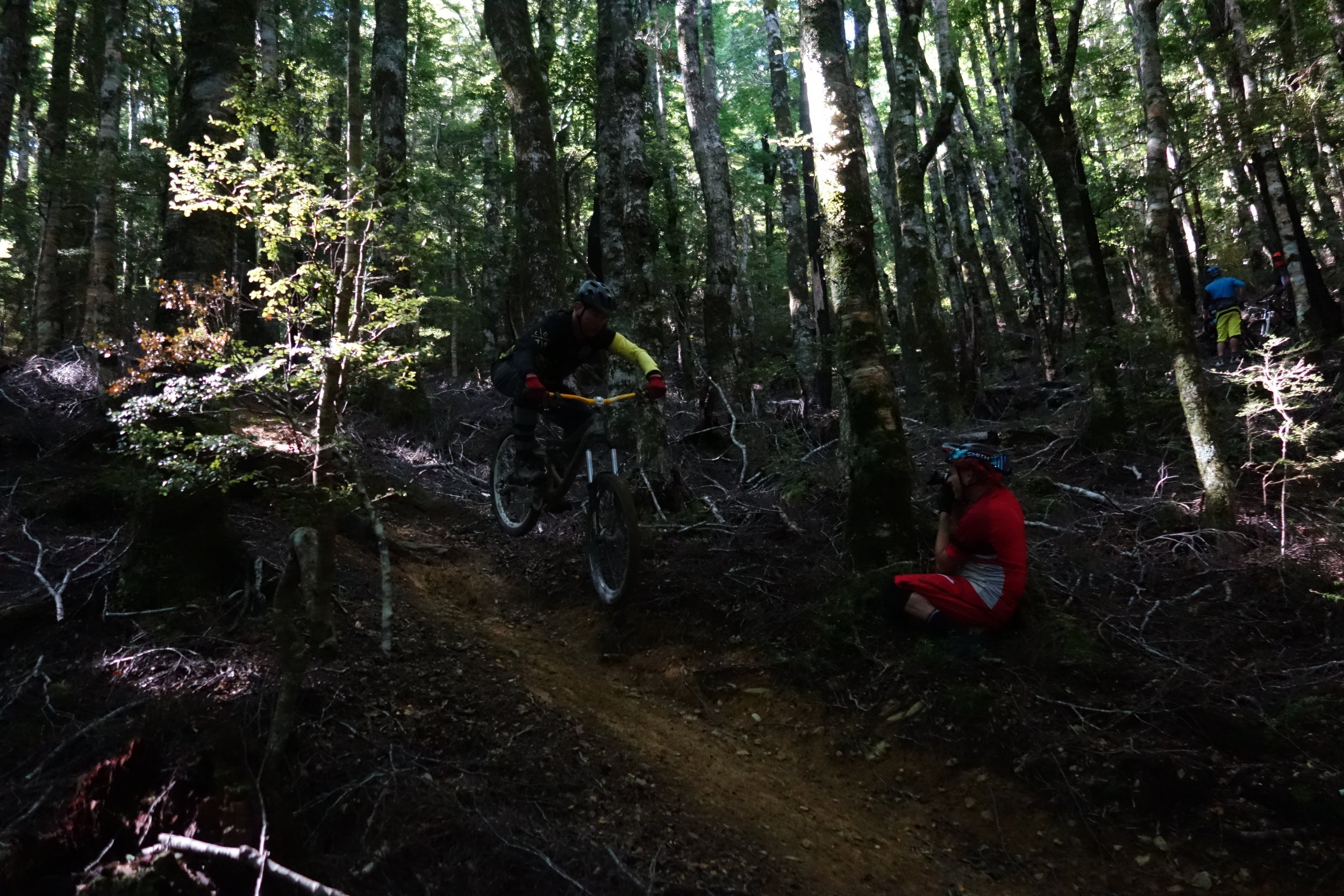 """When Scottish Dave isn't whipping up a malaysian goat curry with pumpkin and saffron rice, he's often seen hucking his BigHit down the trails. Jeff Carter going for the money shot. Half the guys who worked here have shitty 26"""" wheeled bikes from over 5 years ago but they will still smash your face off when it comes to dominating rowdy steep trails. Respect."""