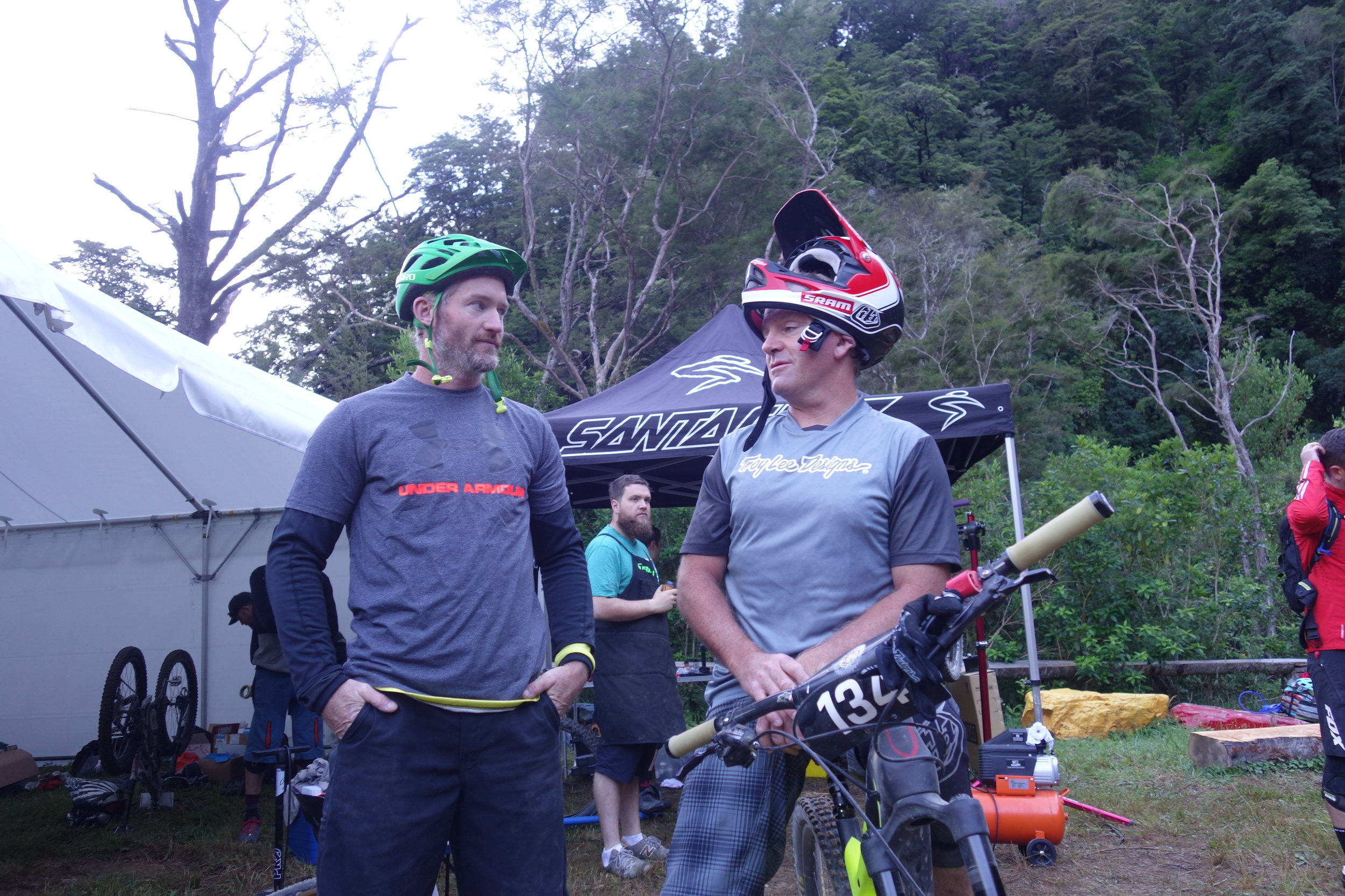 Legends of a bygone era. Ex 90's top DH'er Hadley Boyce on the left who rides about once a month yet still kicks ass (bastard) and my nemesis Hendi on the right who was a pro moto rider then NZ's first pro mountainbiker (who never let me win a race)then V8 and GT3 racer, and now back into motocross where he recently came #2 in his classification at the World Motocross Champs.