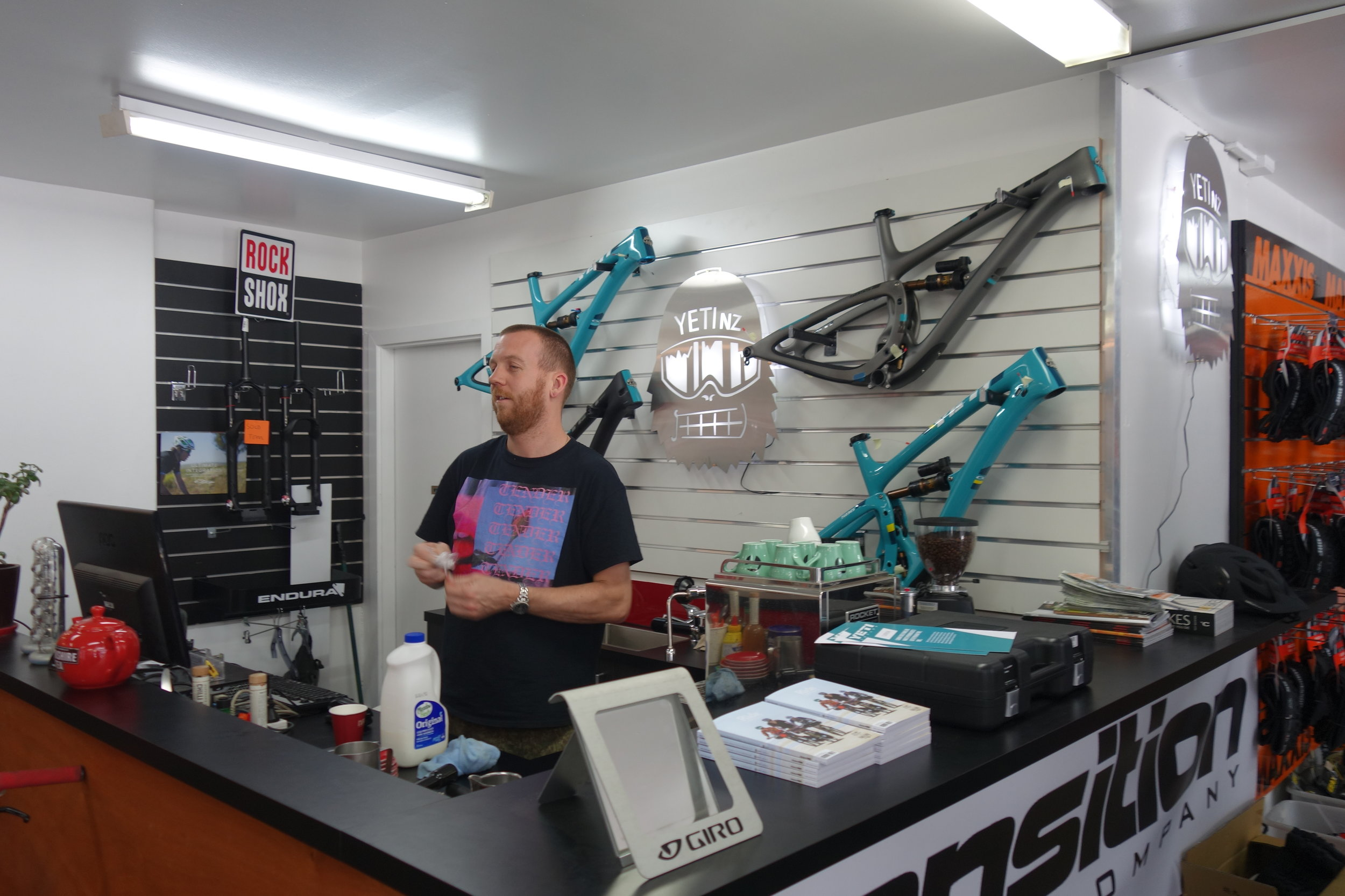 Free coffee with every $5000 frame. Gareth is actually quite busy with the coffee.