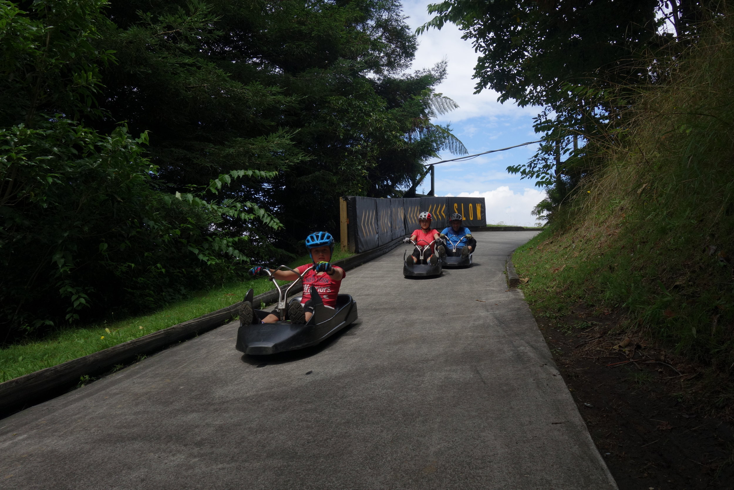 I thought the luge runs would be a little tame. SO MUCH FUN and a little scary...OK..very scary especially with visions of a cheese grated daughter in the local hospital.