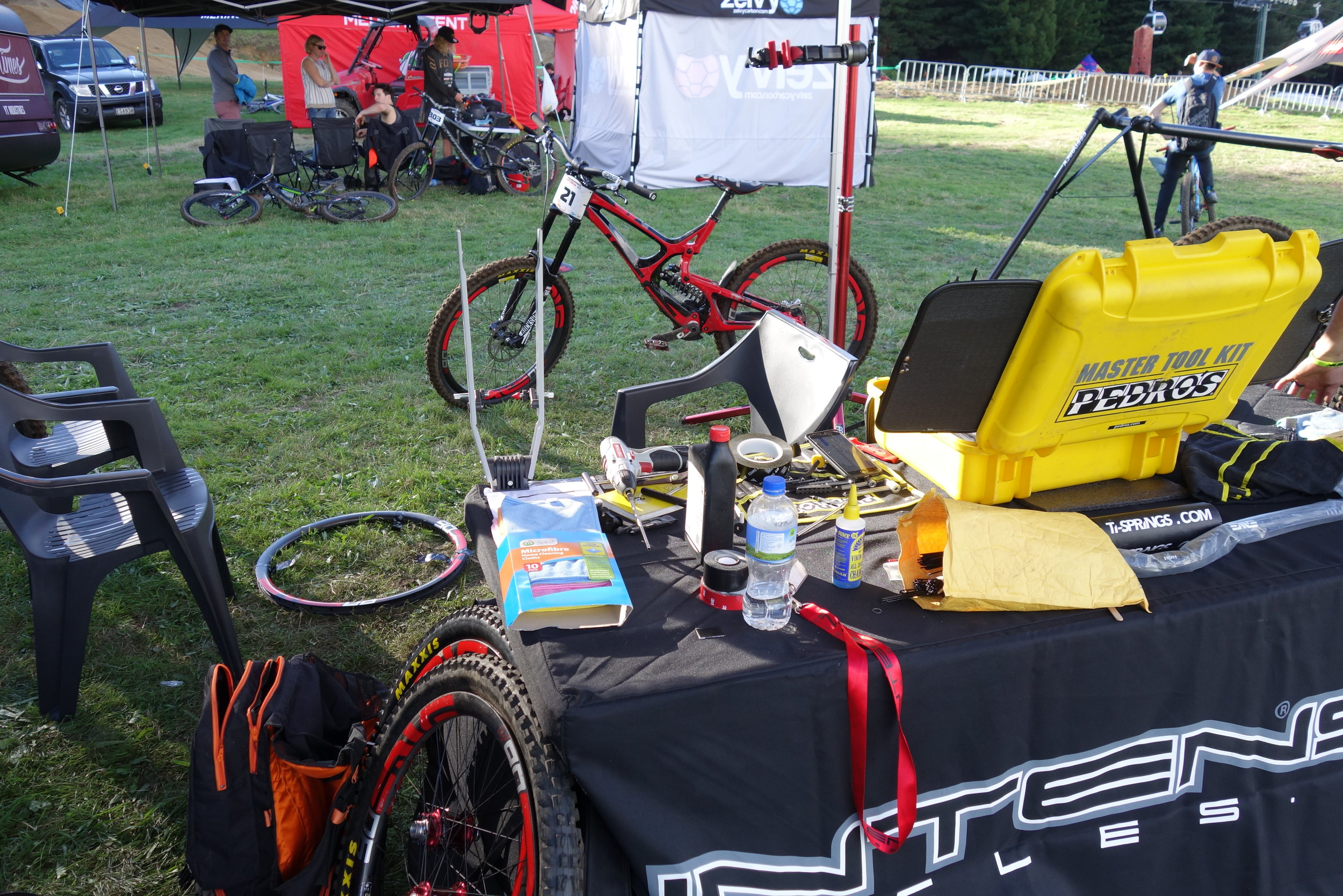 """Intense Factory Racing. It can't be easy servicing bikes in a paddock """"Crap where'd that washer go?"""""""