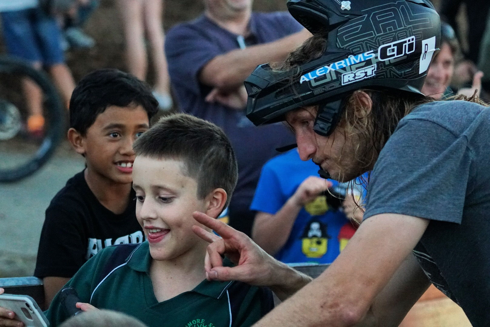 It was selfie and autograph heaven for the kids. My #2 photographer Joseph Carter getting the goods with Jakub Vencal, the Speed and Style winner.  photo: Jeff carter