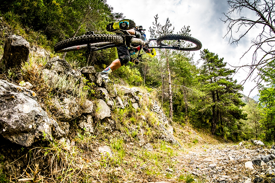 Cedric Gracia was struggling a bit turning the bike too, he had to keep putting his foot down for stability.    photo: Sven Martin