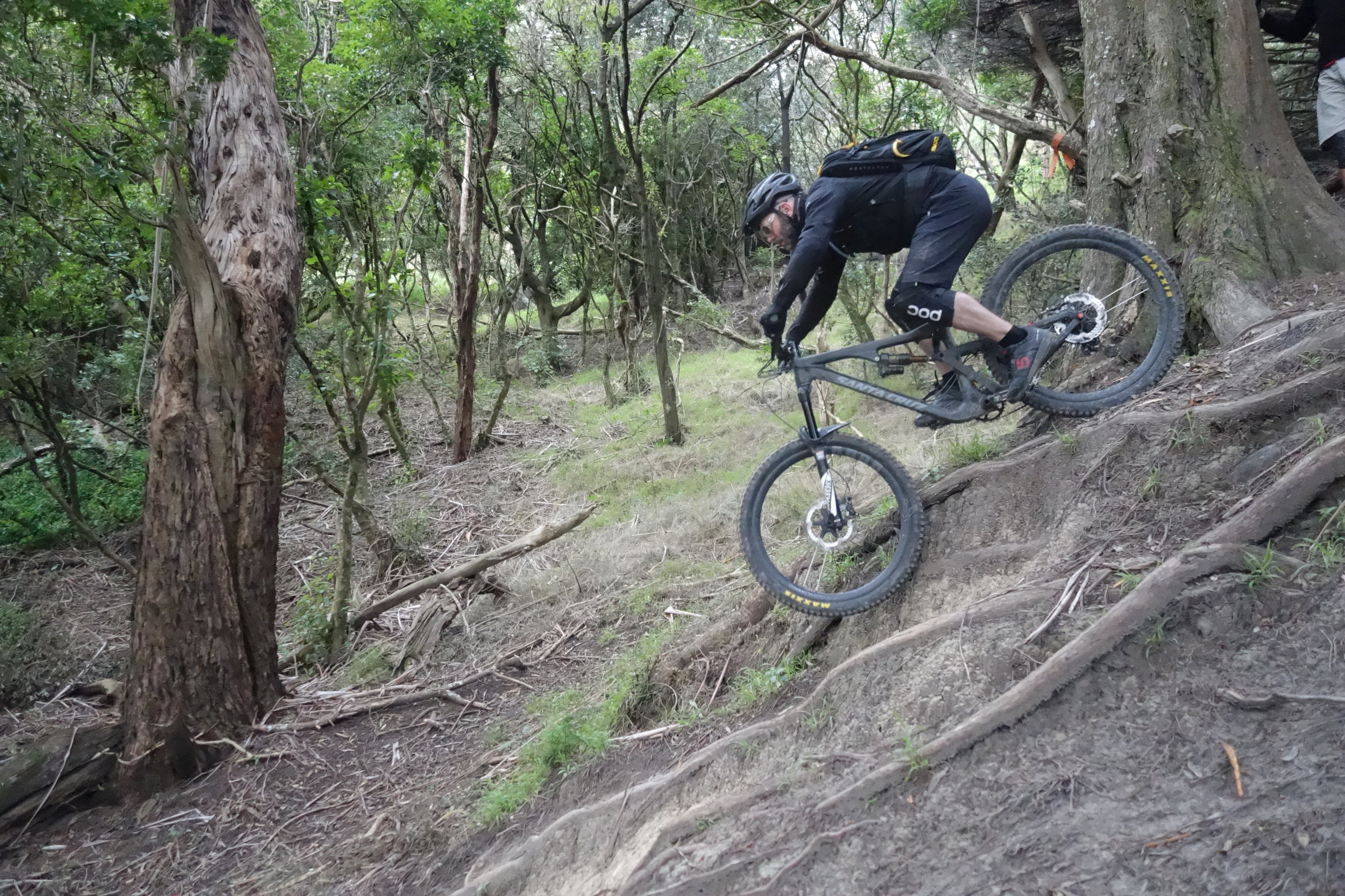 Chris White perfecting his body positioning on TTS trail with The Good Times Society.