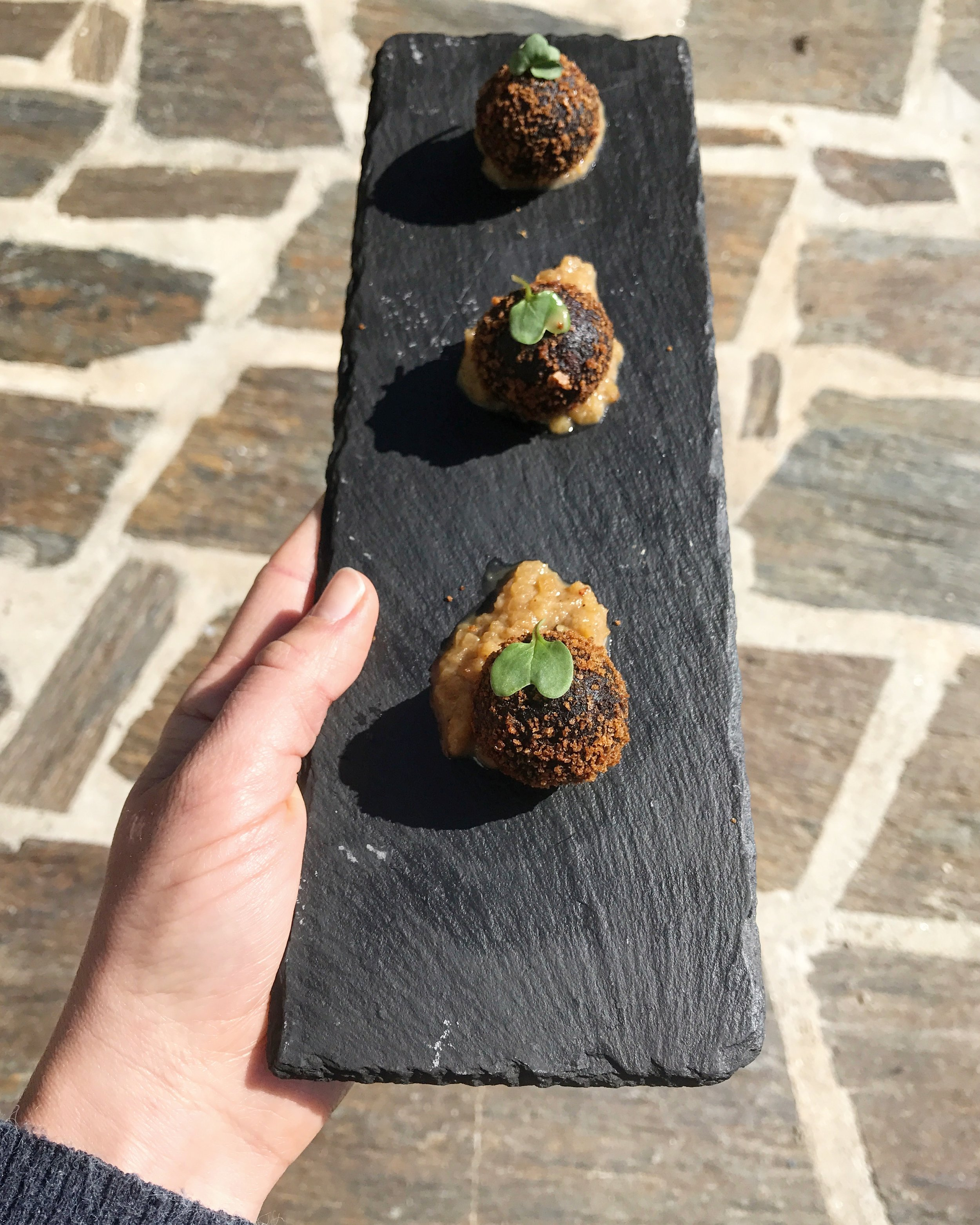 Morcela sausage croquettes, spiced apple chutney.