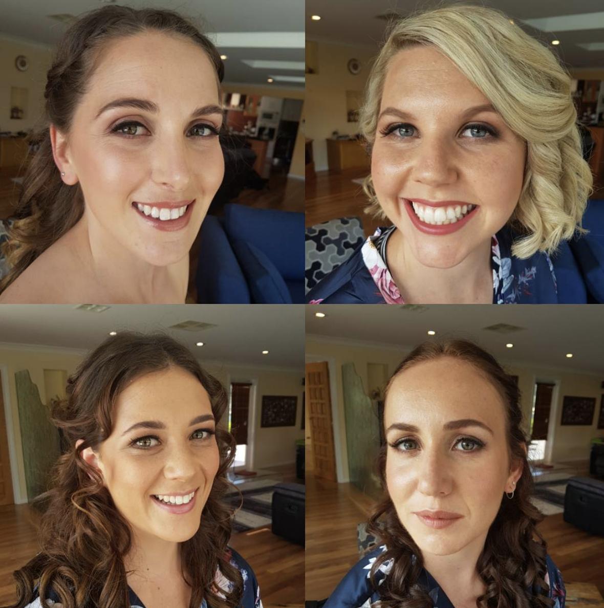 Wedding party makeup, bride and bridesmaids.