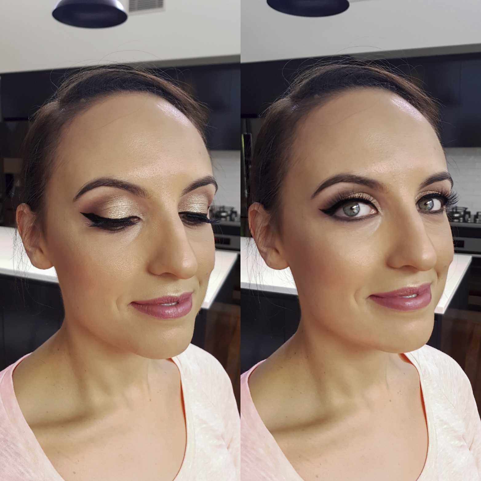 Wingled liner and nude lips by Canberra makeup artist Katie Saarikko.