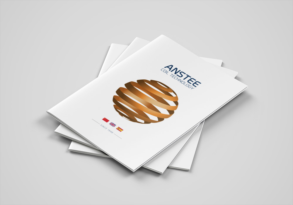Brochure cover design featuring new Anstee Coil logo design