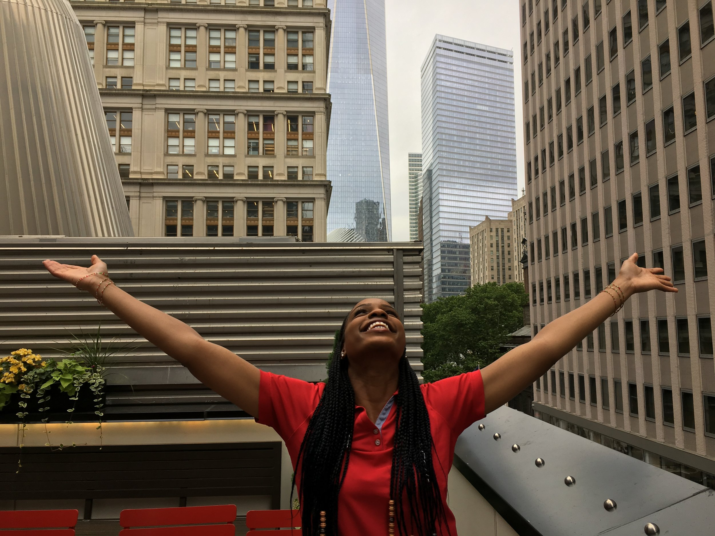 Nkechi on the rooftop terrace at 144 Fulton St