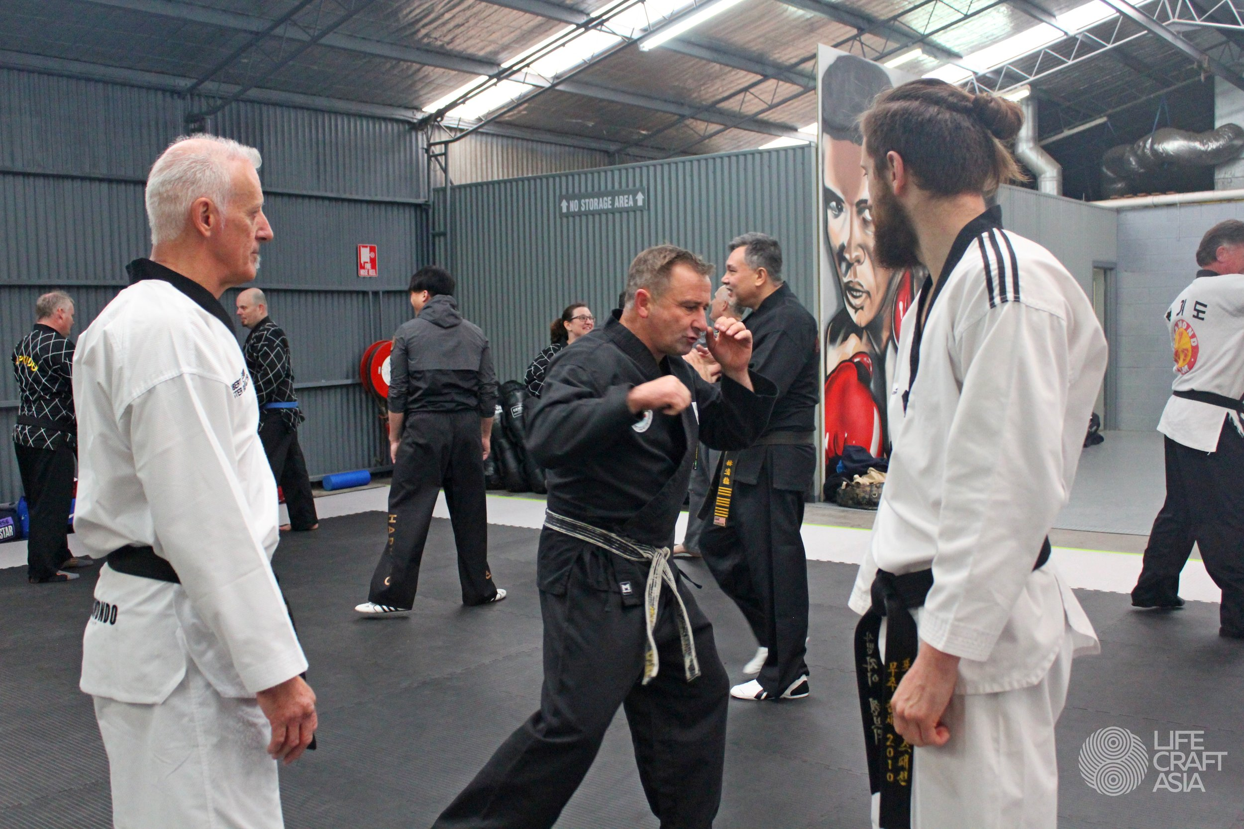 (Left) Grandmaster Robert Schembri (TKD), (Middle) Master Nigel May (Choson Martial Arts, representative of KOMA, KIDO and LifeCraft Australia), (Right) Master Jay K Schembri (TKD)