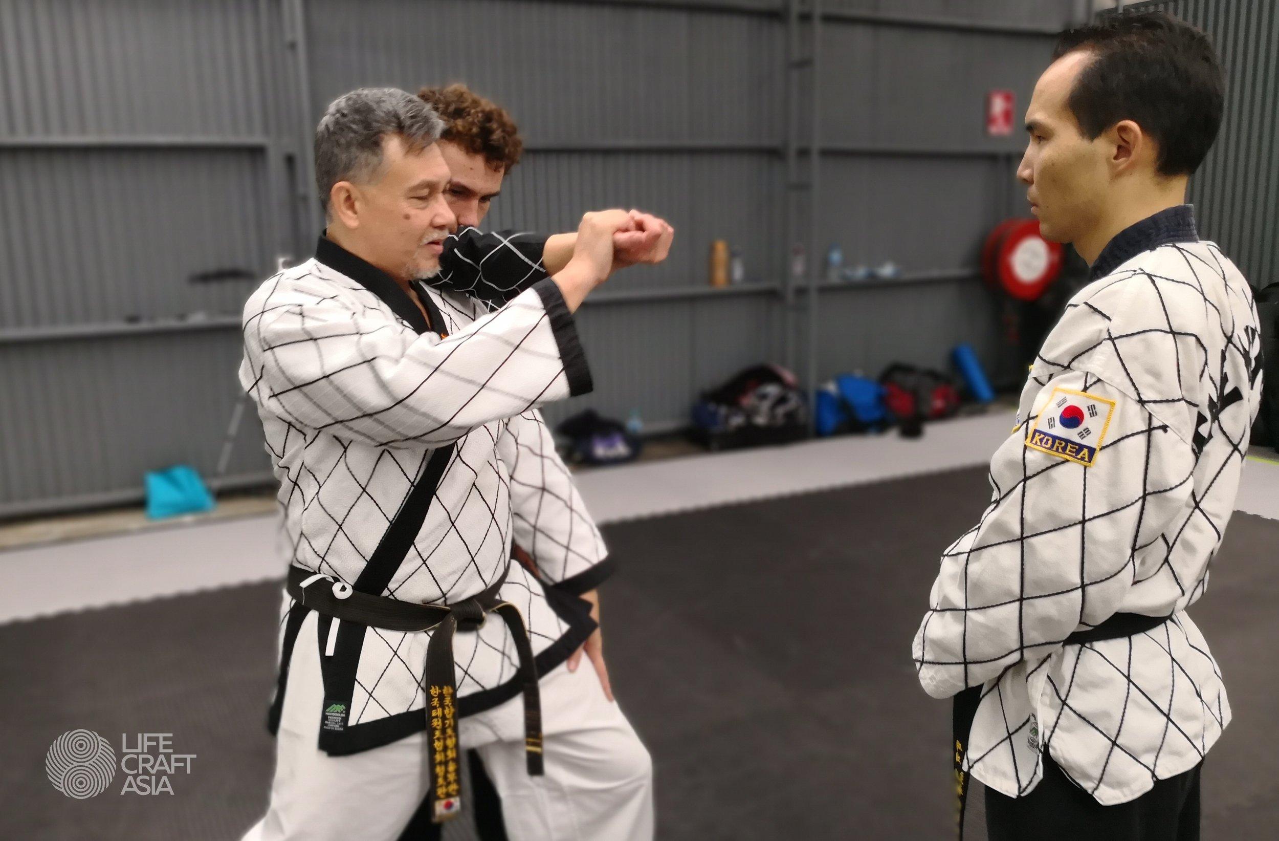 (Left) Grandmaster J.S.Lim, (Right) Master Florian Joo