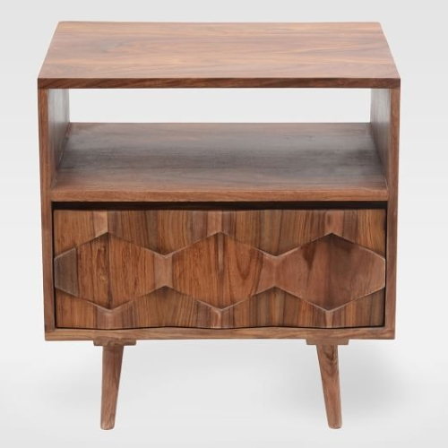 Modern Geo Wood Bedside Table | West Elm
