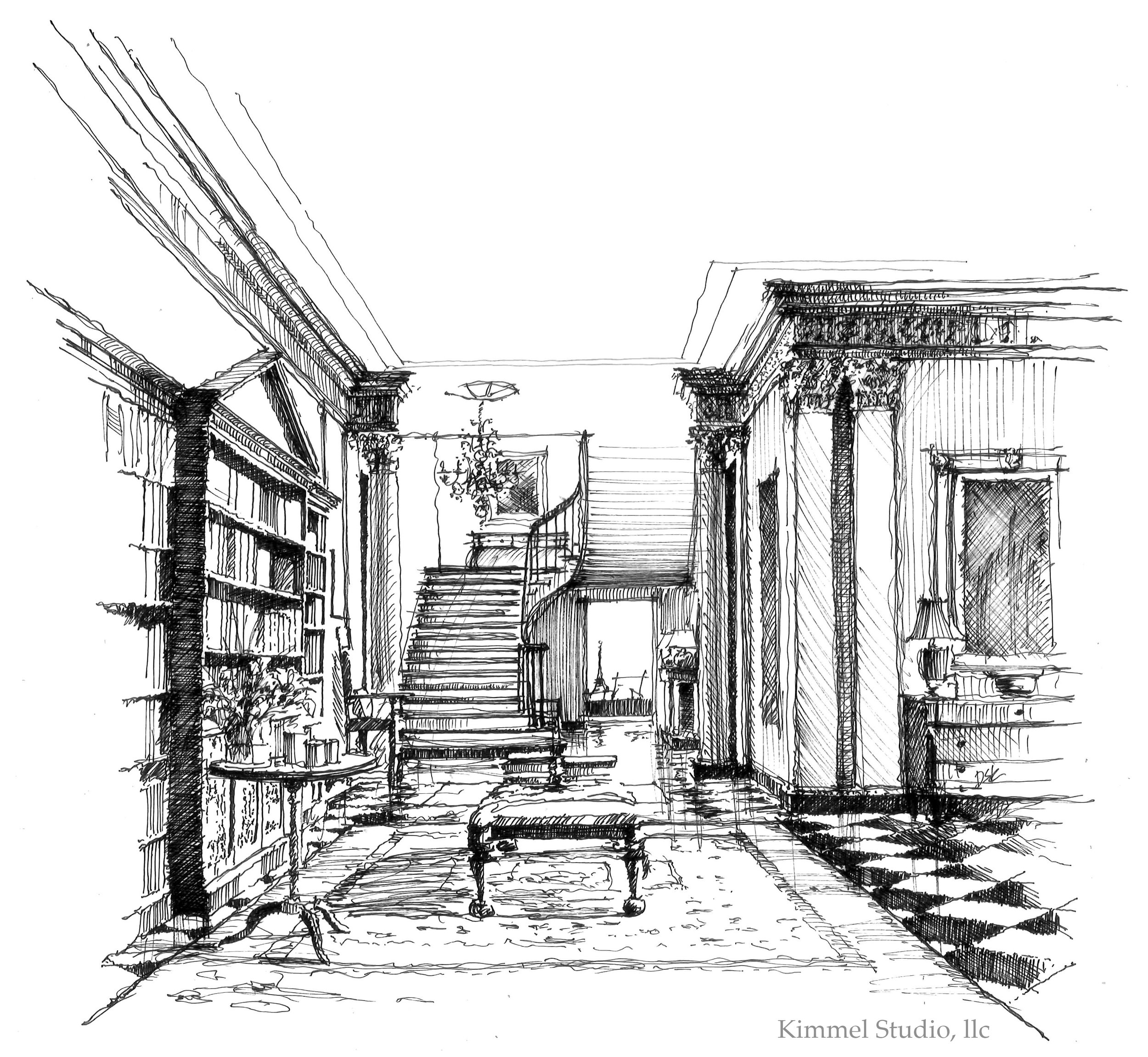 Architect Devin Kimmel hand draw this neo-classical architectural design.