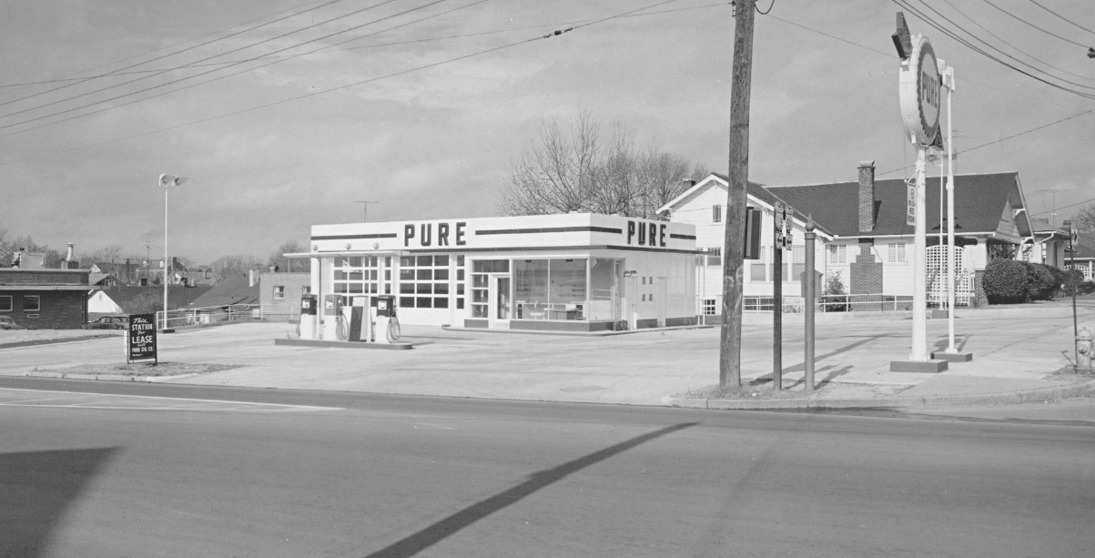 PURE Gas Station located at 1200 West Chapel Hill Street in approximately almost 7o years ago.