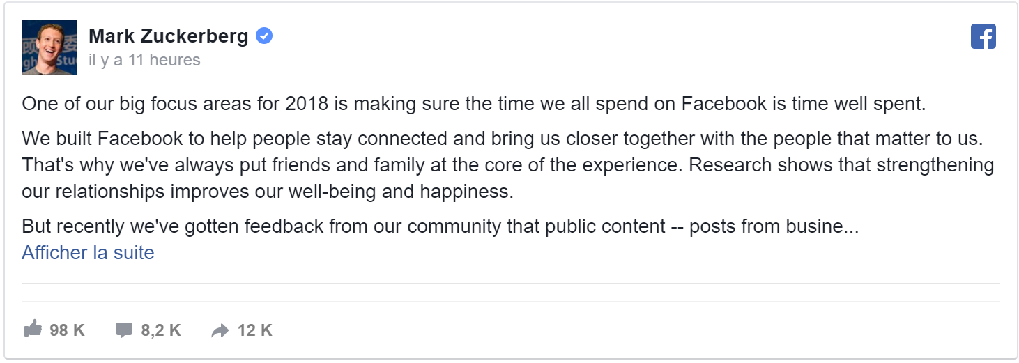 January 11, 2018 - Facebook announces big changes for the newsfeed