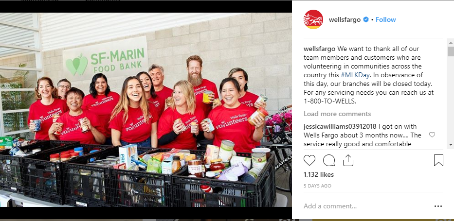Wells Fargo finance on instagram B2B
