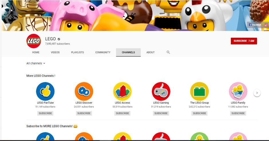 lego has 8 million subscribers on YouTube