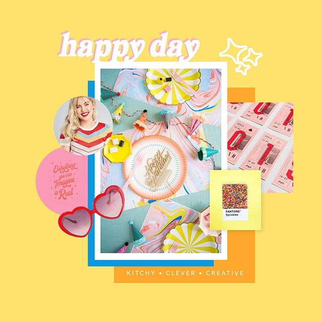 """Happy #moodboardmonday! Today's vibe? It's all about Bright, Fun, and Inviting! It's the first brand type featured in my #kissbrandstyle quiz, and the inspiration behind this sunny, cirque de-retro summer inspired mood board. ⠀ ⠀ 3 Fun Facts: ⠀ 🌊 This mood board was inspired by a childhood pipe dream for an events business. I wasn't invested in the idea, but holy crap, was I was invested in the fantasy!⠀ 💌 My mom had Oriental Trading Catalog delivered to our doorstep and I used it to plan party themes, budgets, and guest counts. In short, I was obsessed.⠀ 💖 Kiss Creative is a Bright, Fun, and Inviting brand so this one is really close to my heart. ⠀ ⠀ People who identify with the Bright, Fun, and Inviting style type often have zest for life and an infectious passion for the things they love! Some people might find them to be a bit """"fluffy"""", but they are talented story-tellers because they have the ability to see life through the lens of fantasy. They bring that experience to others through their perspective and their creativity. People who identify with the Bright, Fun, and Inviting style type often have a gift to help people feel the energetic surge of their own potential.⠀ ⠀ If I went with my childhood pipe dream, I'd be helping my clients design their happiest days. What's more bright, fun, and inviting than that? Other types of clients who might love this style include:⠀ 💑 Companies marketed for kids and parents⠀ 🎨 Artists and creatives⠀ 🌿 Health brands ⠀ 💛 Non-profits⠀ ☮ Pioneers of positivity (think coaches or activists) ⠀ If your services focus on helping clients achieve that optimal happy ending, this style type could be good place to get started.⠀ ⠀ Does this brand type sound a little like you, or a little left field? Watch my story to learn more! ✨"""