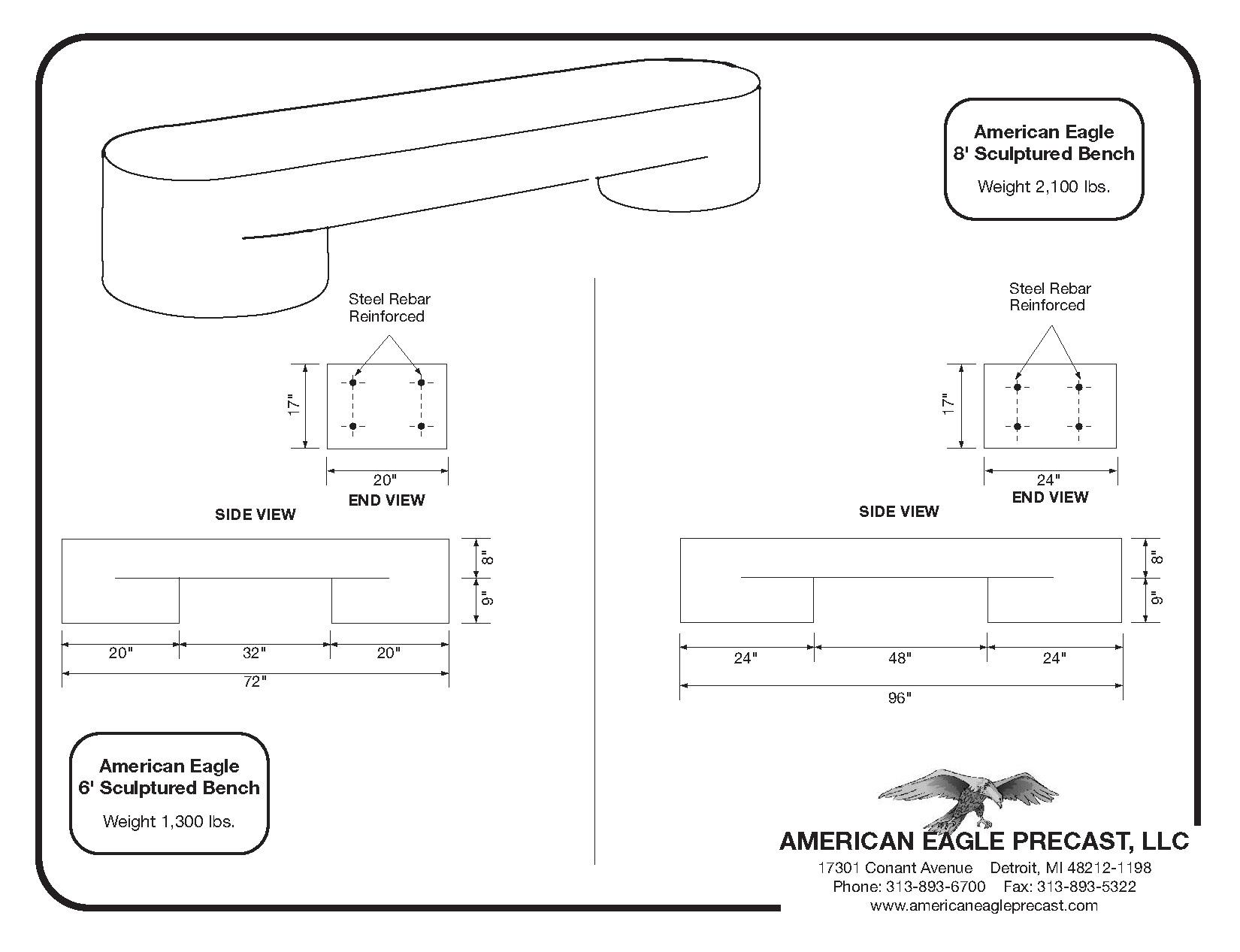 Sculptured Bench Spec Sheet