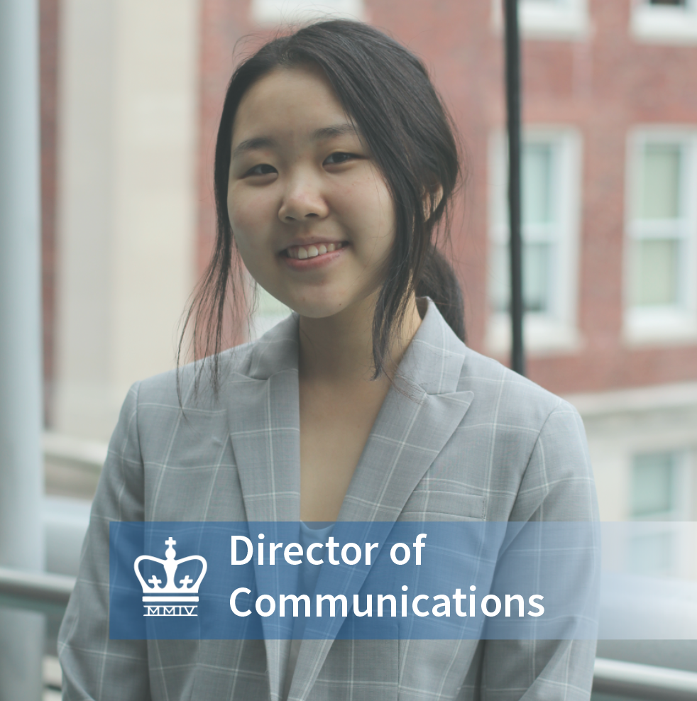 Sabina Jia - School: Columbia College 2022Major: Economics & AstronomyHometown: Edison, NJInterests in the business world: Investment Banking, Venture Capital, Private Equity & Asset Management