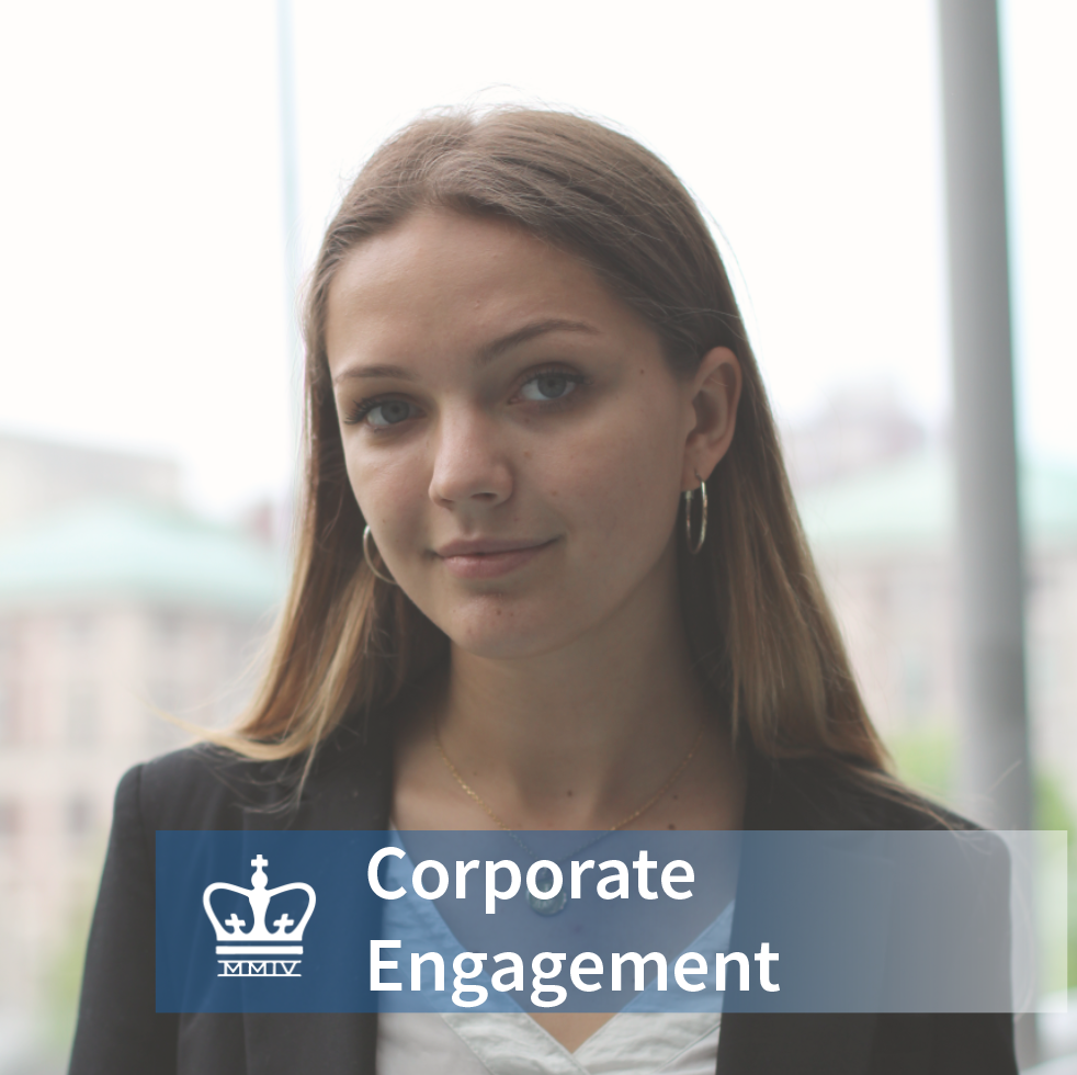 Isabel von Stauffenberg - School: Columbia College 2021Major: History & Political ScienceHometown: London, EnglandInterests in the business world: Strategy Consulting & Private Equity