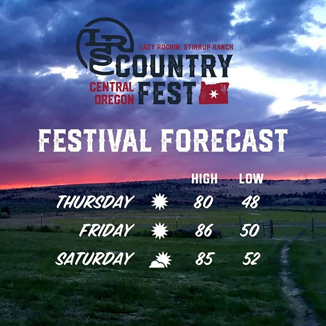 It's festival week! The forecast is looking perfect for the weekend full of Music, Food, Camping, and FUN!! #LRSfest19