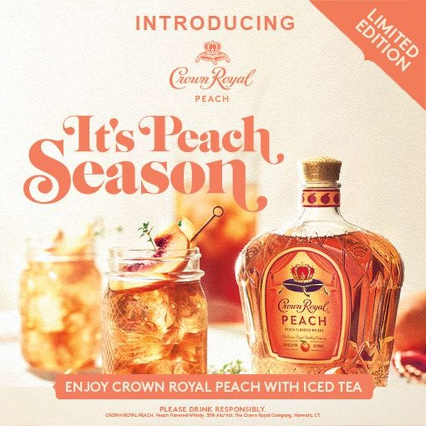 This isn't your ordinary tea. Pour our newest blend, Crown Royal Peach, into the Royal Peach Tea for a smooth and refreshing tasting cocktail. Cheers!⠀ ⠀ Royal Peach Tea Recipe:⠀ Ingredients⠀ - 1.5 oz Crown Royal Peach⠀ - 6.0 oz Iced Tea⠀ - Fresh Lemon⠀ ⠀ Instructions⠀ - Fill glass with crushed ice⠀ - Add whisky and iced tea⠀ - Stir gently⠀ - Garnish with a lemon slice