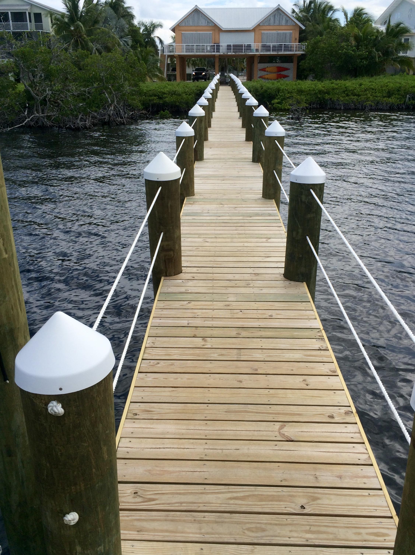 New wood Dock Located in Key Largo, Florida