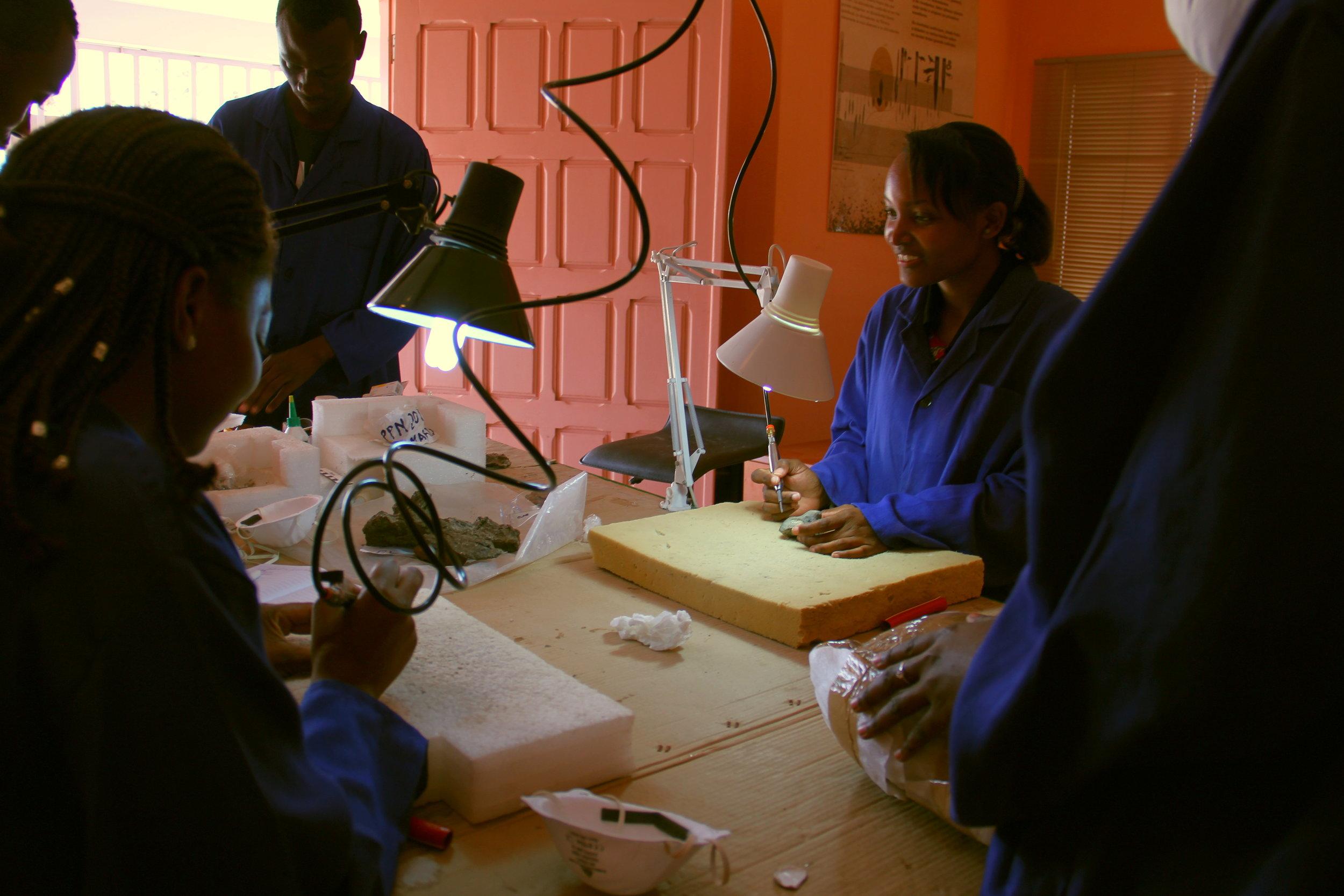 Paleontology students preparing fossils from Niassa at the National Paleontology Laboratory in Maputo.