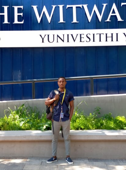 Zanildo Macungo in the first day of his Master's Degree at Witwatersrand University.