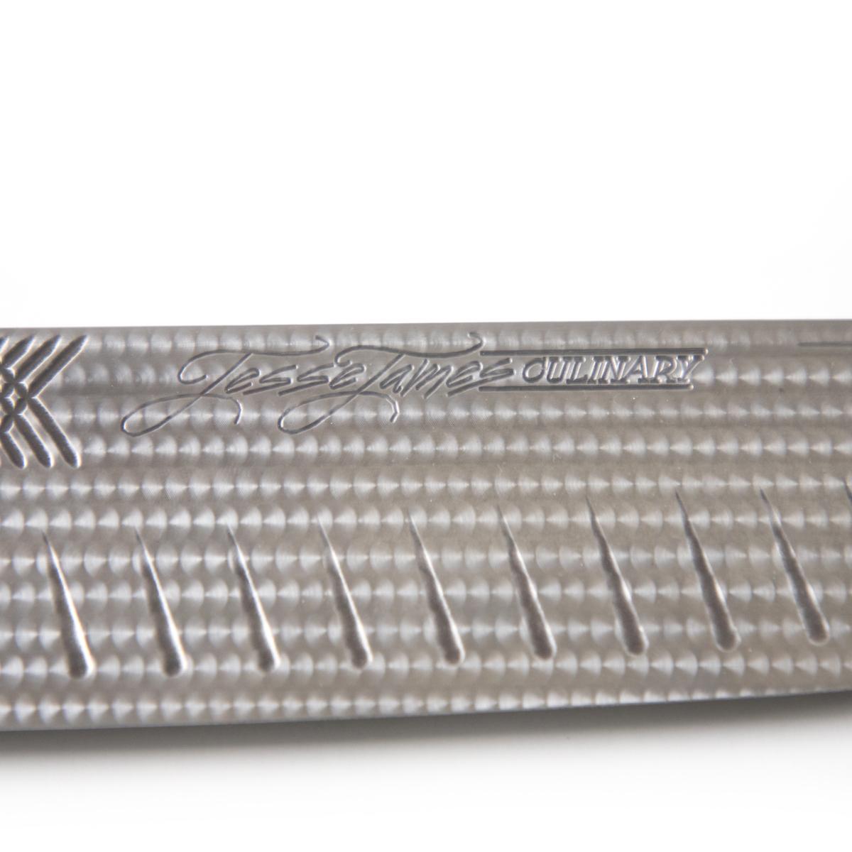 Engine Turned Knife Detail and Logo
