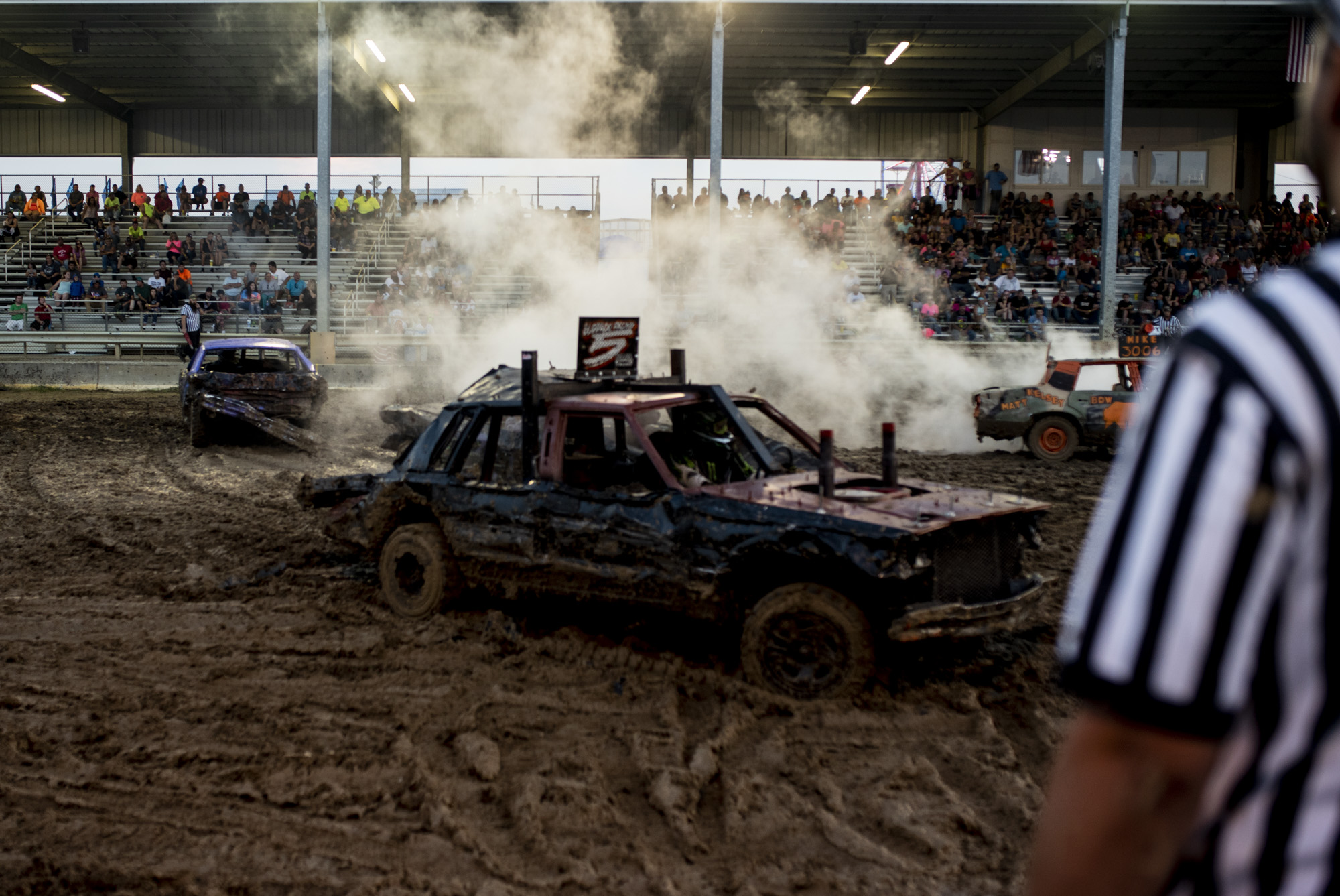 A demolition derby at the Fayetteville County Fair.