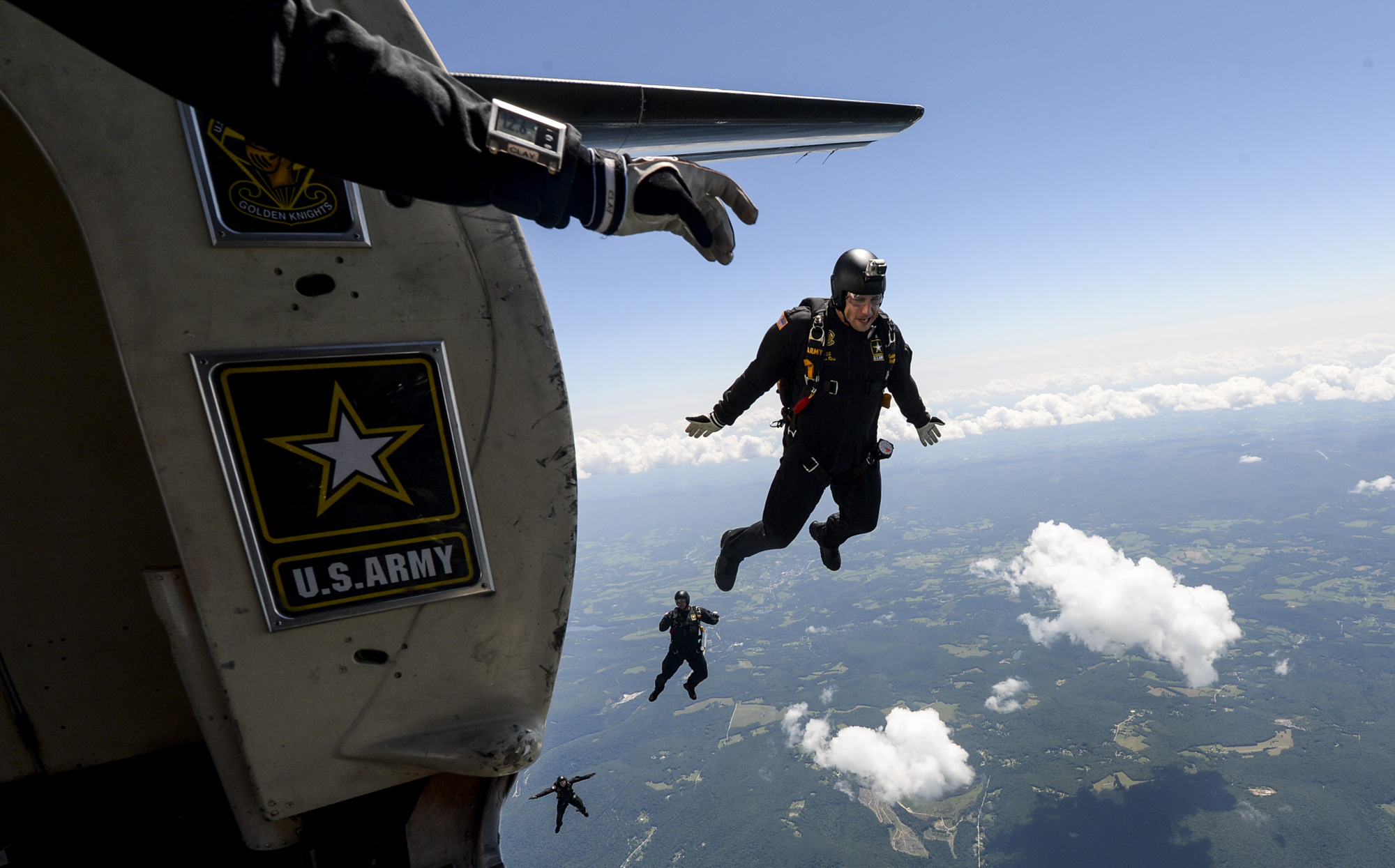 The United States Army Parachute Team, Golden Knights, jumps from 12,500 feet up during the Westmoreland Airshow at Arnold Palmer Regional Airport in Latrobe on Sunday, July 29, 2018.