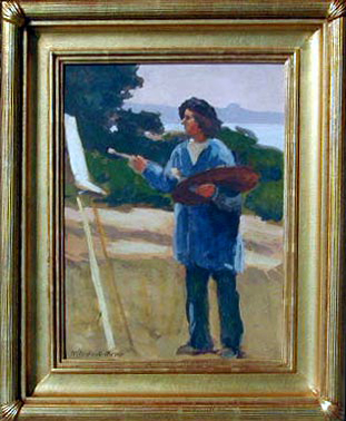"""Mary Deneale Morgan  Self Portrait, oil on board, 12"""" x 16"""""""