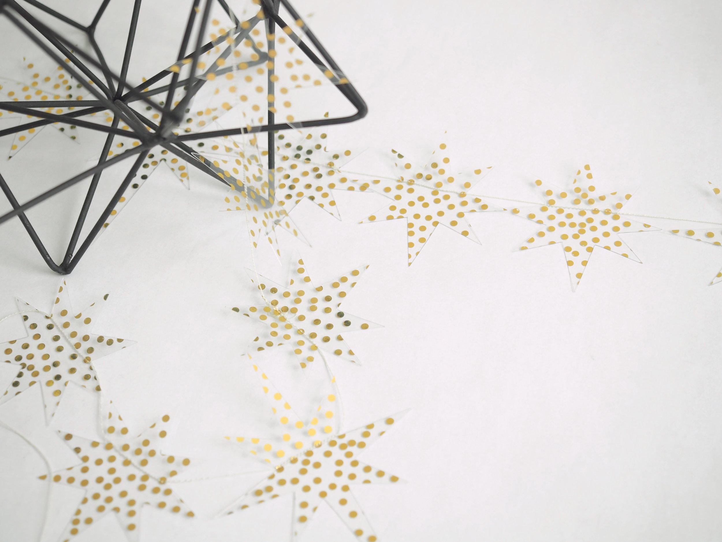 <ゴールド水玉のスターガーランド> ゴールド水玉柄の透明アクリルシートで 星を象って作ったオリジナルバナー。