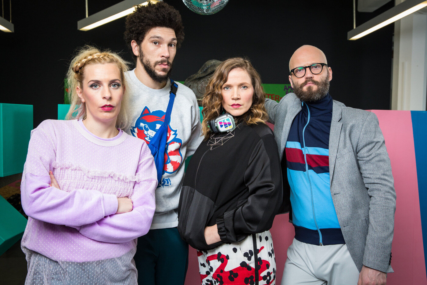 Programme Name: W1A - TX: n/a - Episode: n/a (No. 1) - Picture Shows: L-R Coco Lomax (SARA PASCOE), Karl Marx (JOEL FRY), Sioban Sharpe (JESSICA HYNES), Barney Lumsden (ALEX BECKETT) - (C) BBC - Photographer: Jack Barnes