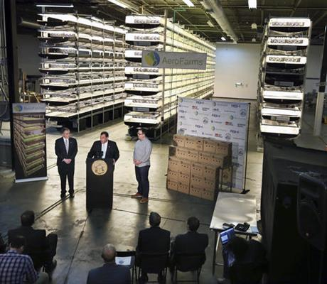 On this Thursday, March 24, 2016, file photograph, New Jersey Gov. Chris Christie, center at podium, addresses a gathering at AeroFarms, a vertical farming operation in Newark, N.J. AeroFarms is now refurbishing an old steel mill in New Jersey and they say it will soon be the site of the world's largest indoor vertical farm. The company says their Newark facility, set to open in September, could produce 2 million pounds of food per year and help with farming land loss and long-term food shortages. (AP Photo/Mel Evans, File)
