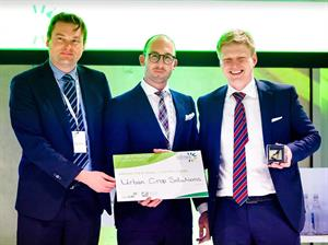 From left, Frederic Bulcaen, co-founder and chairman at Urban Crop Solutions, with Brecht Stubbe, global sales director and Maarten Vandecruys, co-founder and CEO with at European FoodNexus Award Ceremony