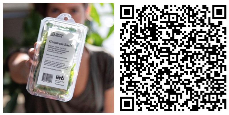 Consumers can simply scan the QR code with the camera on their phones to get the full story on when, where, and how Square Roots' herbs are produced in Brooklyn, NY.