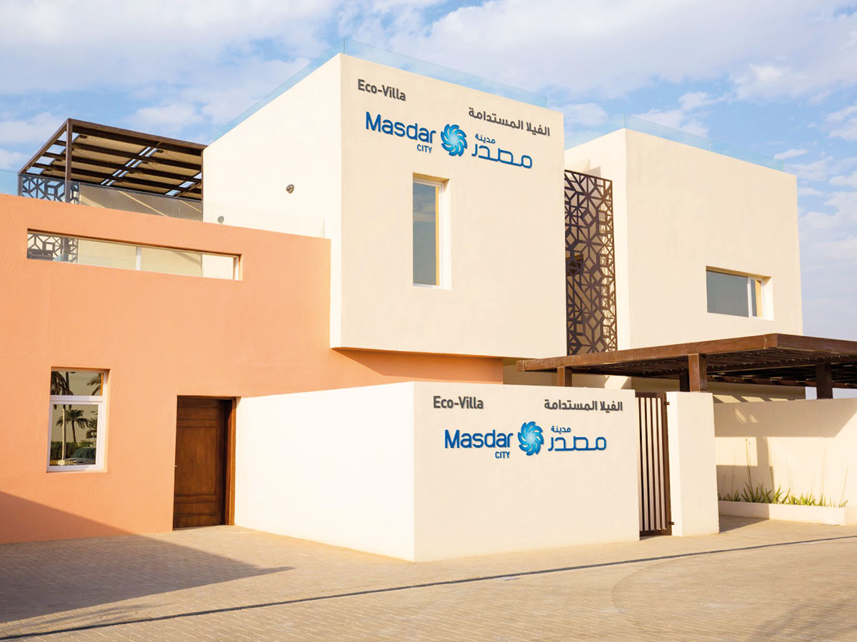 Masdar City's eco villa Bustani: A pilot project in Masdar City, this smart showcase has been designed to use 72 per cent less energy and 35 per cent less ater than a typical comparably sized villa in Abu Dhabi.Image Credit: Supplied